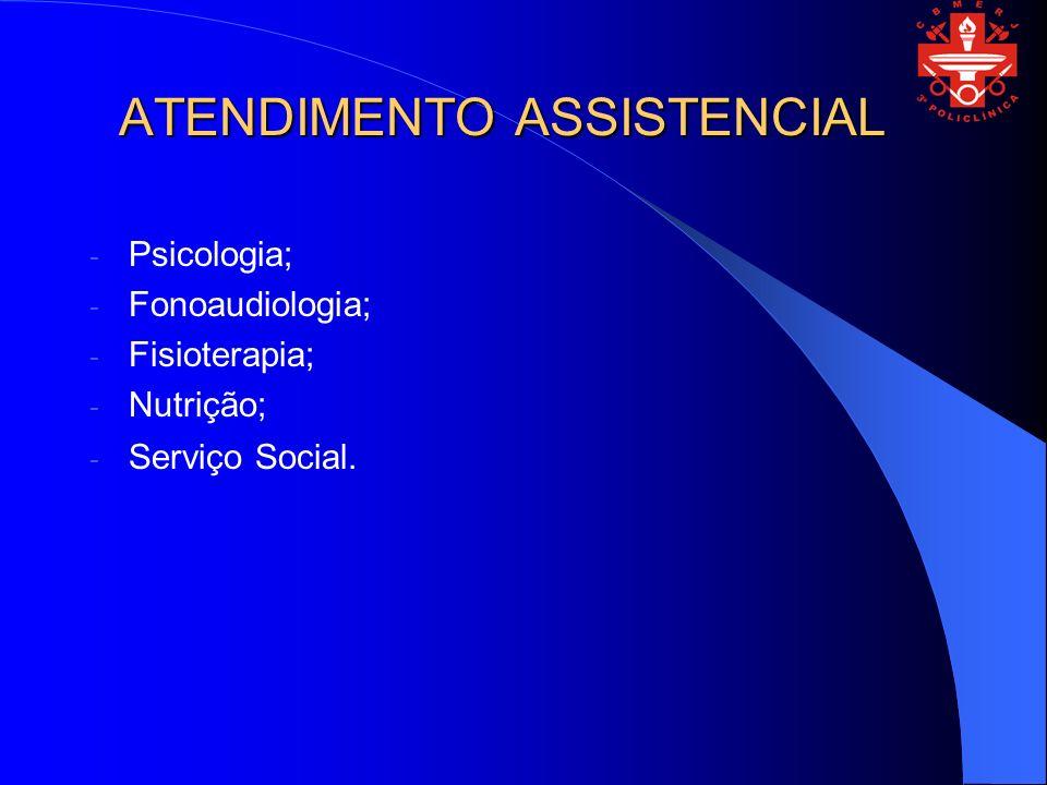 ATENDIMENTO ASSISTENCIAL - Psicologia; - Fonoaudiologia; - Fisioterapia; - Nutrição; - Serviço Social.
