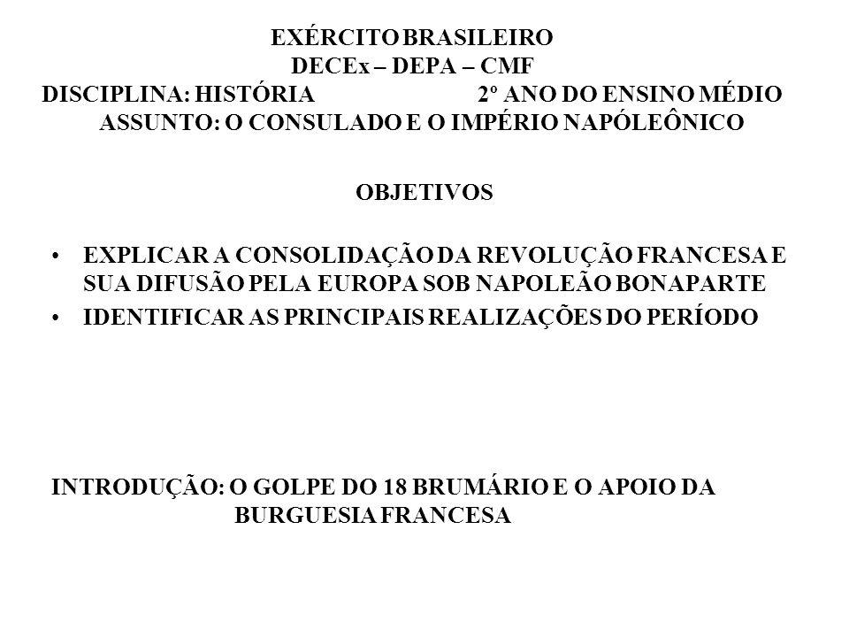 EXÉRCITO BRASILEIRO DECEx – DEPA – CMF DISCIPLINA: HISTÓRIA 2º ANO DO ENSINO MÉDIO ASSUNTO: O CONSULADO E O IMPÉRIO NAPÓLEÔNICO OBJETIVOS EXPLICAR A C