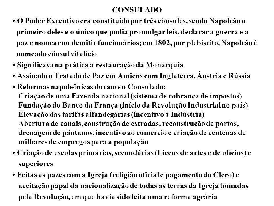 CONSULADO O Poder Executivo era constituído por três cônsules, sendo Napoleão o primeiro deles e o único que podia promulgar leis, declarar a guerra e