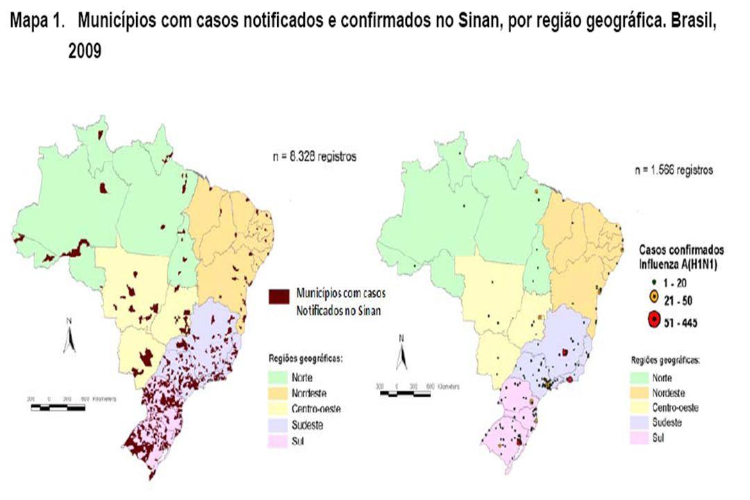 No Brasil, até 18 de julho de 2009, referente à semana epidemiológica (SE) 28, as Secretarias Estaduais e Municipais de Saúde registraram 8.328 casos