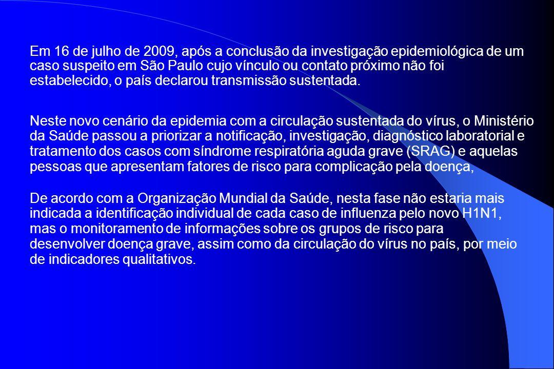 Em 16 de julho de 2009, após a conclusão da investigação epidemiológica de um caso suspeito em São Paulo cujo vínculo ou contato próximo não foi estab