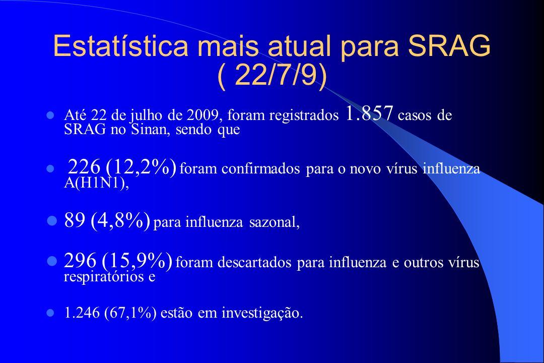Estatística mais atual para SRAG ( 22/7/9) Até 22 de julho de 2009, foram registrados 1.857 casos de SRAG no Sinan, sendo que 226 (12,2%) foram confir