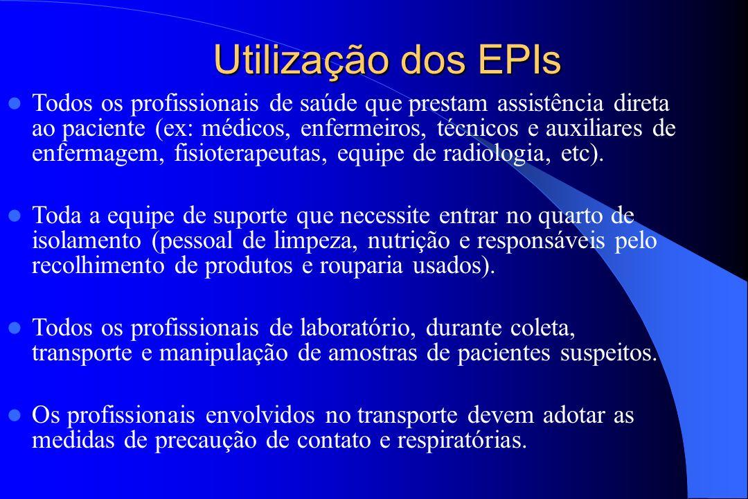Utilização dos EPIs Todos os profissionais de saúde que prestam assistência direta ao paciente (ex: médicos, enfermeiros, técnicos e auxiliares de enf
