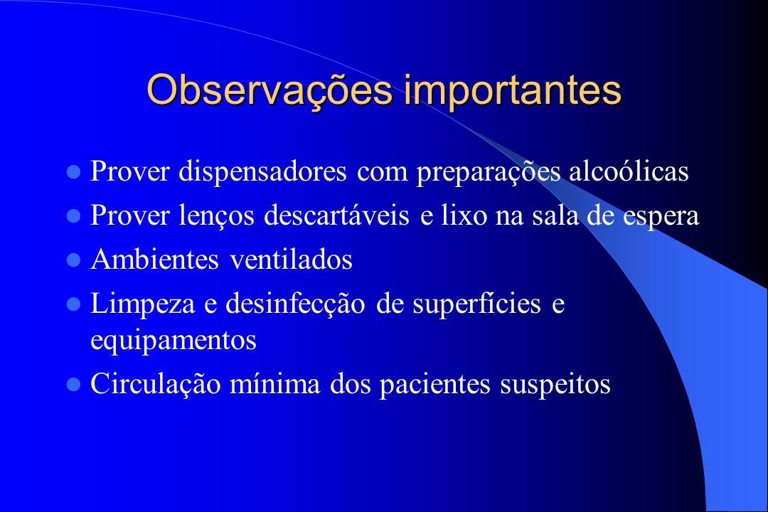 Observações importantes Prover dispensadores com preparações alcoólicas Prover lenços descartáveis e lixo na sala de espera Ambientes ventilados Limpe