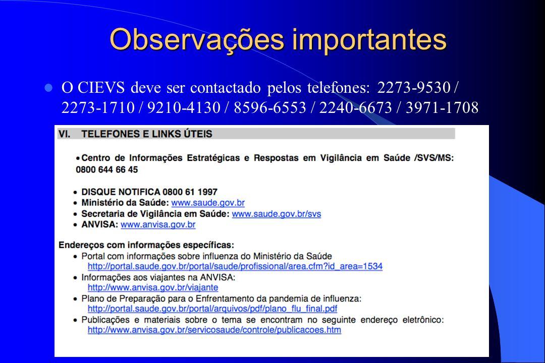 Observações importantes O CIEVS deve ser contactado pelos telefones: 2273-9530 / 2273-1710 / 9210-4130 / 8596-6553 / 2240-6673 / 3971-1708