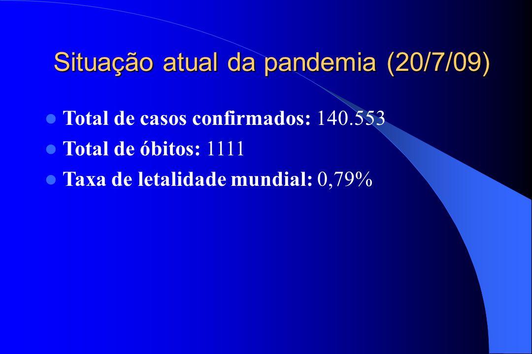 Situação atual da pandemia (20/7/09) Total de casos confirmados: 140.553 Total de óbitos: 1111 Taxa de letalidade mundial: 0,79%