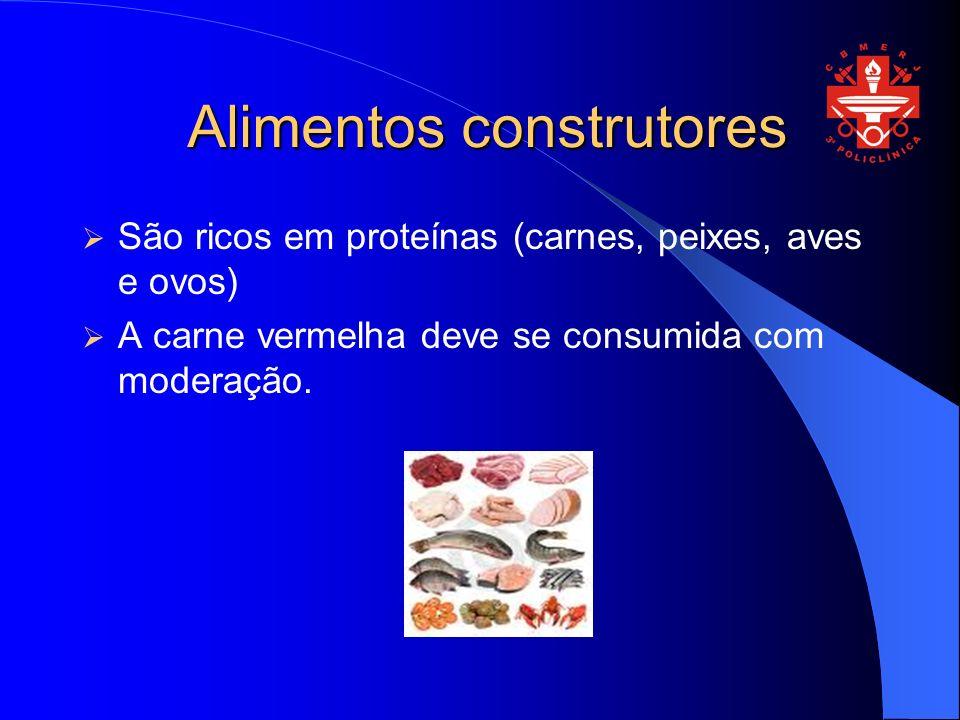 Alimentos construtores São ricos em proteínas (carnes, peixes, aves e ovos) A carne vermelha deve se consumida com moderação.