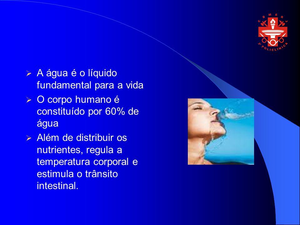 A água é o líquido fundamental para a vida O corpo humano é constituído por 60% de água Além de distribuir os nutrientes, regula a temperatura corporal e estimula o trânsito intestinal.