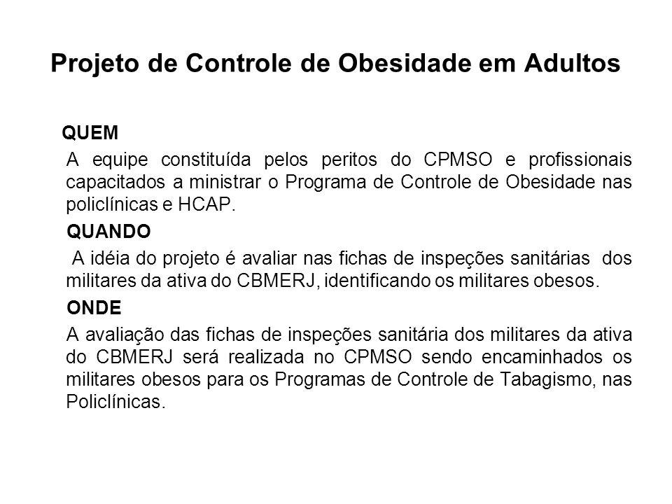 Projeto de Controle de Obesidade em Adultos QUEM A equipe constituída pelos peritos do CPMSO e profissionais capacitados a ministrar o Programa de Con