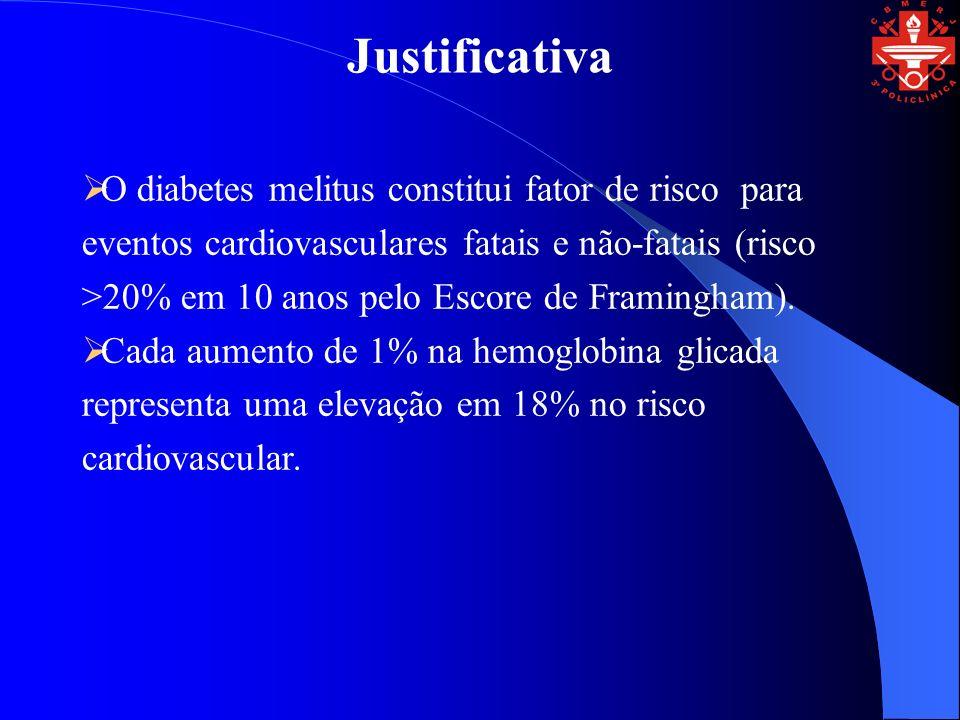 Justificativa O diabetes melitus constitui fator de risco para eventos cardiovasculares fatais e não-fatais (risco >20% em 10 anos pelo Escore de Framingham).