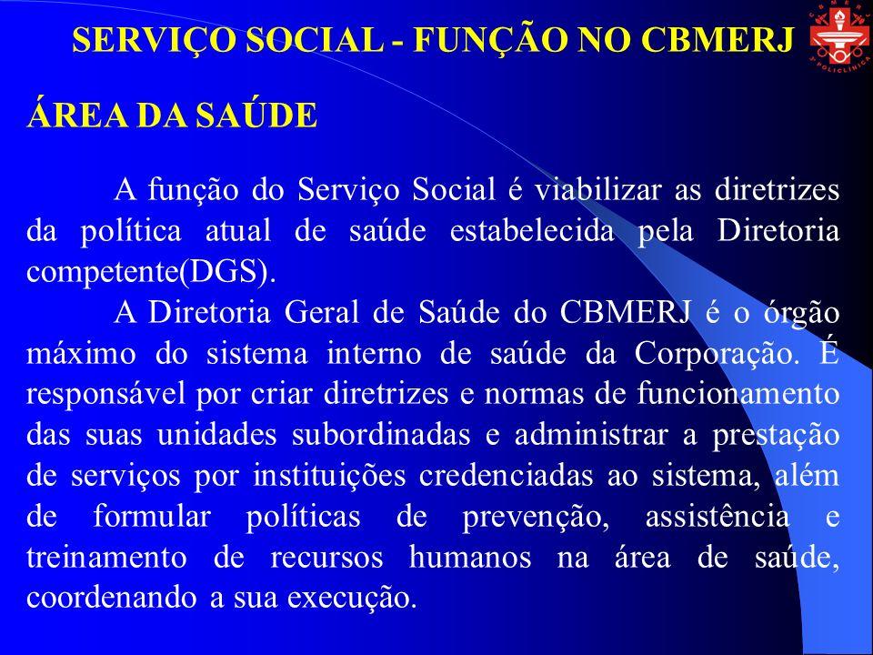 SERVIÇO SOCIAL - FUNÇÃO NO CBMERJ ÁREA DA SAÚDE A função do Serviço Social é viabilizar as diretrizes da política atual de saúde estabelecida pela Diretoria competente(DGS).