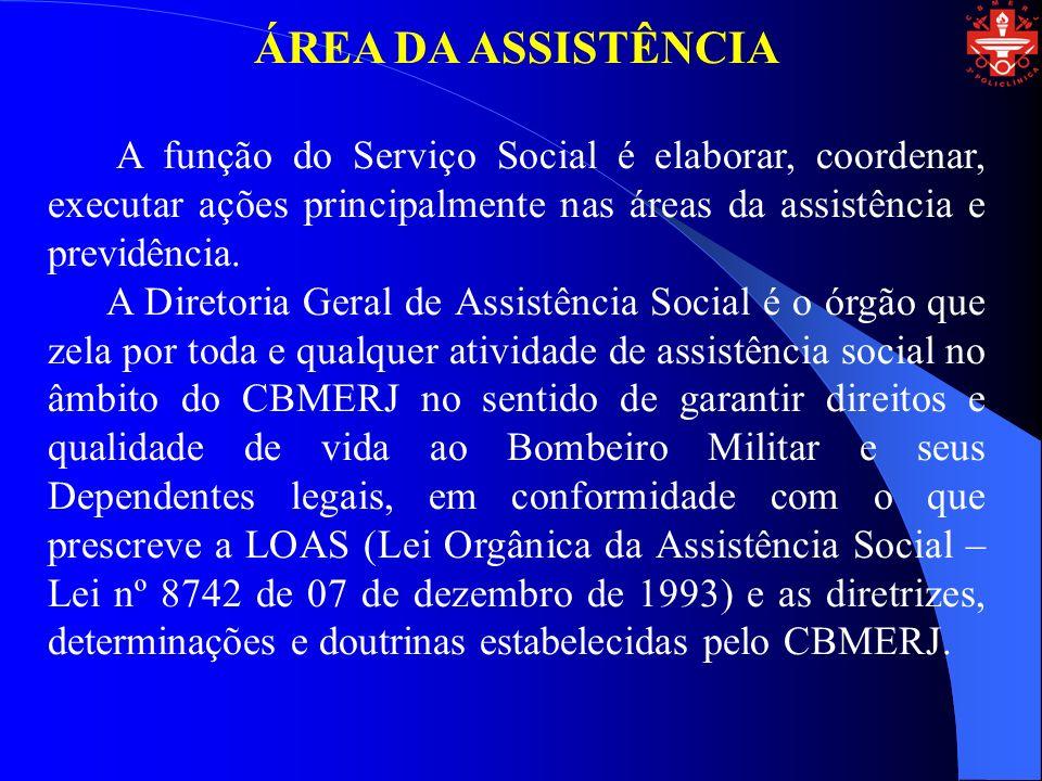 ÁREA DA ASSISTÊNCIA A função do Serviço Social é elaborar, coordenar, executar ações principalmente nas áreas da assistência e previdência.