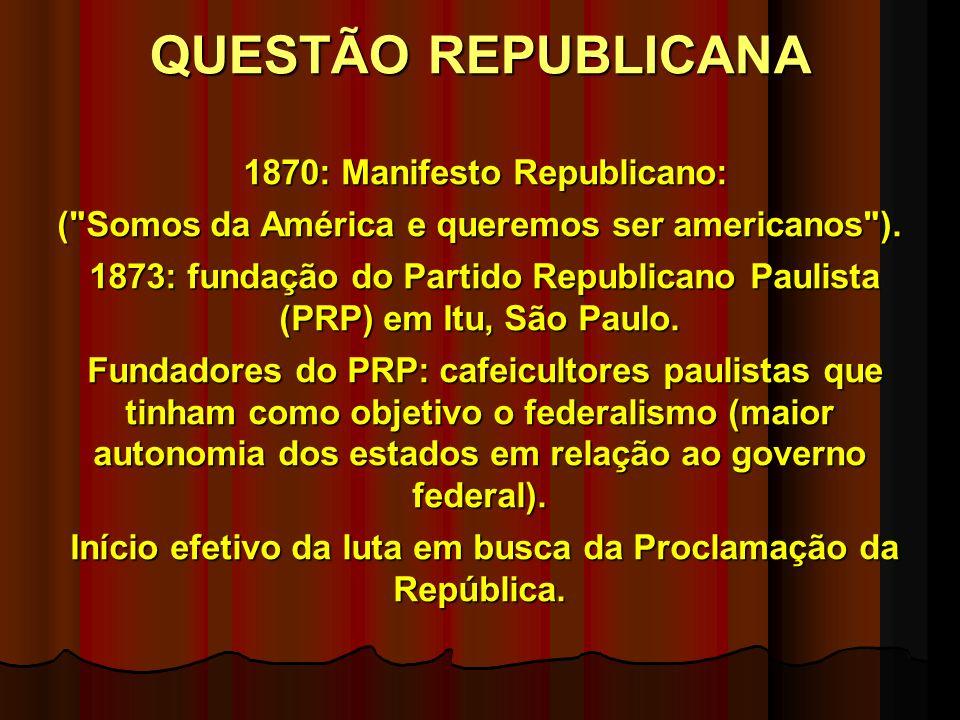 QUESTÃO REPUBLICANA 1870: Manifesto Republicano: 1870: Manifesto Republicano: ( Somos da América e queremos ser americanos ).