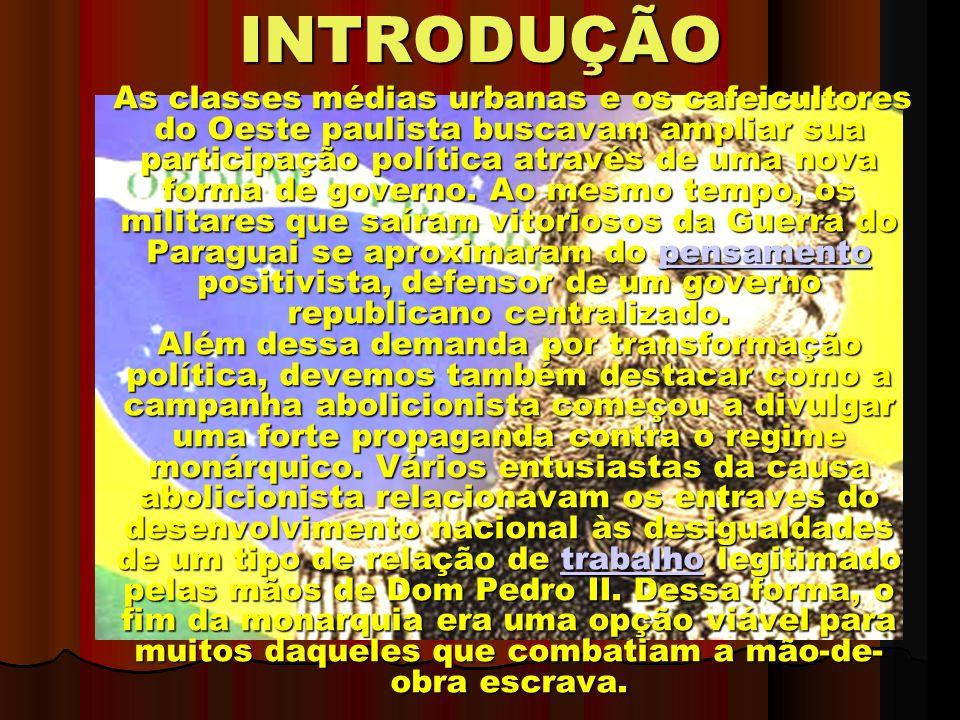 INTRODUÇÃO As classes médias urbanas e os cafeicultores do Oeste paulista buscavam ampliar sua participação política através de uma nova forma de governo.