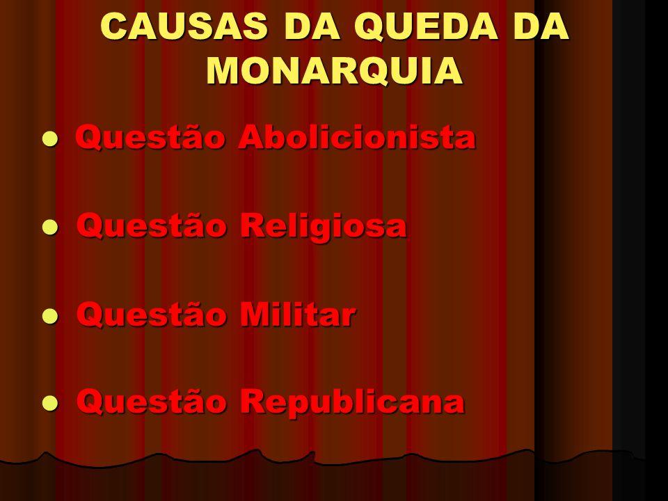 CAUSAS DA QUEDA DA MONARQUIA Questão Abolicionista Questão Abolicionista Questão Religiosa Questão Religiosa Questão Militar Questão Militar Questão Republicana Questão Republicana
