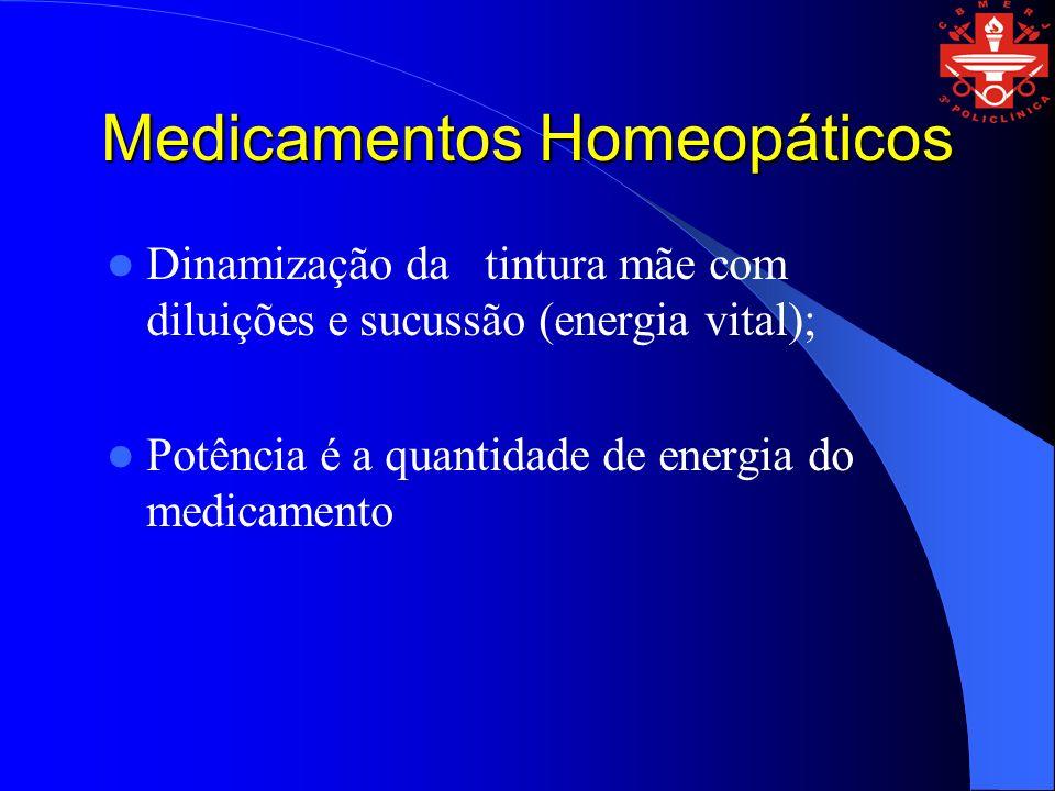 Medicamentos Homeopáticos Dinamização da tintura mãe com diluições e sucussão (energia vital); Potência é a quantidade de energia do medicamento