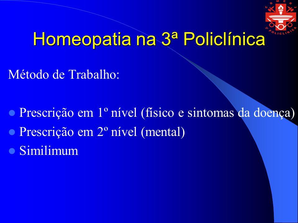 Homeopatia na 3ª Policlínica Método de Trabalho: Prescrição em 1º nível (físico e sintomas da doença) Prescrição em 2º nível (mental) Similimum