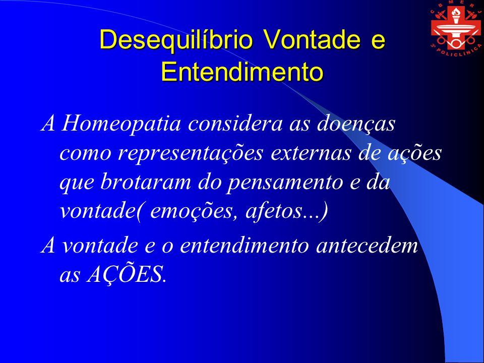 Desequilíbrio Vontade e Entendimento A Homeopatia considera as doenças como representações externas de ações que brotaram do pensamento e da vontade(