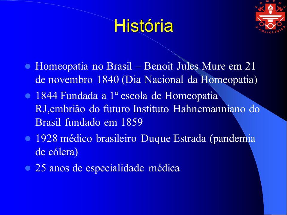 História Homeopatia no Brasil – Benoit Jules Mure em 21 de novembro 1840 (Dia Nacional da Homeopatia) 1844 Fundada a 1ª escola de Homeopatia RJ,embriã