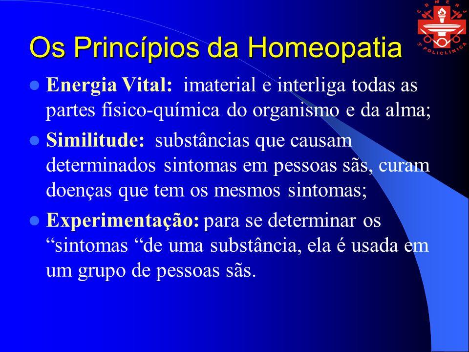 Os Princípios da Homeopatia Energia Vital: imaterial e interliga todas as partes físico-química do organismo e da alma; Similitude: substâncias que ca