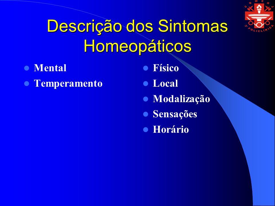 Descrição dos Sintomas Homeopáticos Mental Temperamento Físico Local Modalização Sensações Horário