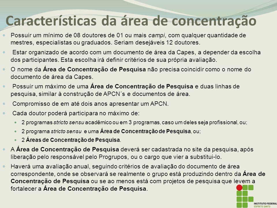 Características da área de concentração Possuir um mínimo de 08 doutores de 01 ou mais campi, com qualquer quantidade de mestres, especialistas ou graduados.