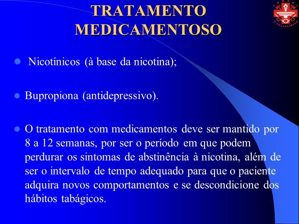 TRATAMENTO MEDICAMENTOSO Nicotínicos (à base da nicotina); Bupropiona (antidepressivo). O tratamento com medicamentos deve ser mantido por 8 a 12 sema