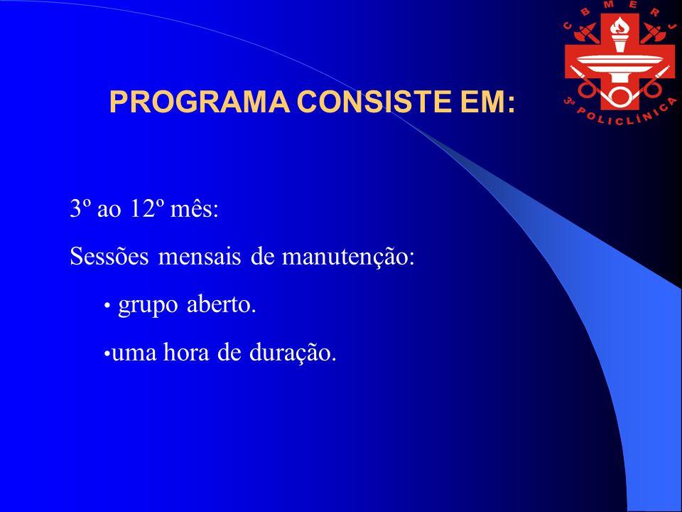3º ao 12º mês: Sessões mensais de manutenção: grupo aberto. uma hora de duração. PROGRAMA CONSISTE EM: