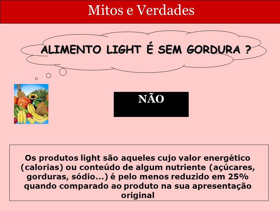 Mitos e Verdades NÃO ALIMENTO LIGHT É SEM GORDURA .