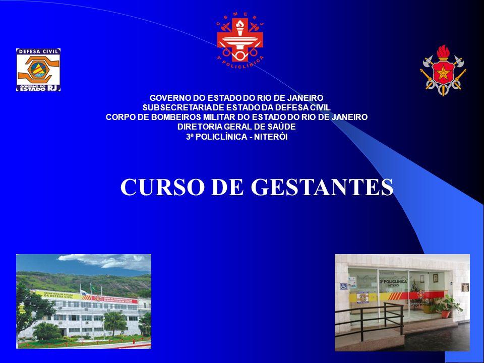 GOVERNO DO ESTADO DO RIO DE JANEIRO SUBSECRETARIA DE ESTADO DA DEFESA CIVIL CORPO DE BOMBEIROS MILITAR DO ESTADO DO RIO DE JANEIRO DIRETORIA GERAL DE SAÚDE 3ª POLICLÍNICA - NITERÓI CURSO DE GESTANTES