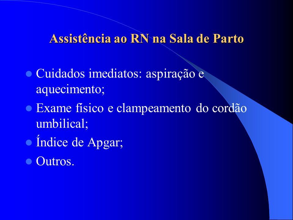 Assistência ao RN na Sala de Parto Cuidados imediatos: aspiração e aquecimento; Exame físico e clampeamento do cordão umbilical; Índice de Apgar; Outros.