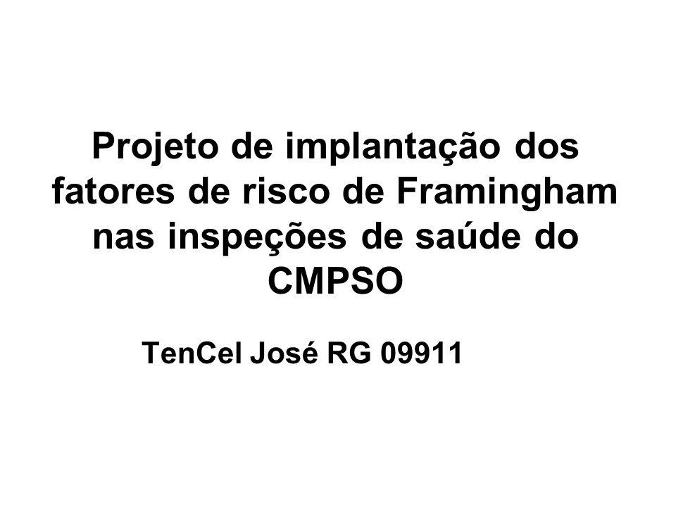 Projeto de implantação dos fatores de risco de Framingham nas inspeções de saúde do CMPSO TenCel José RG 09911