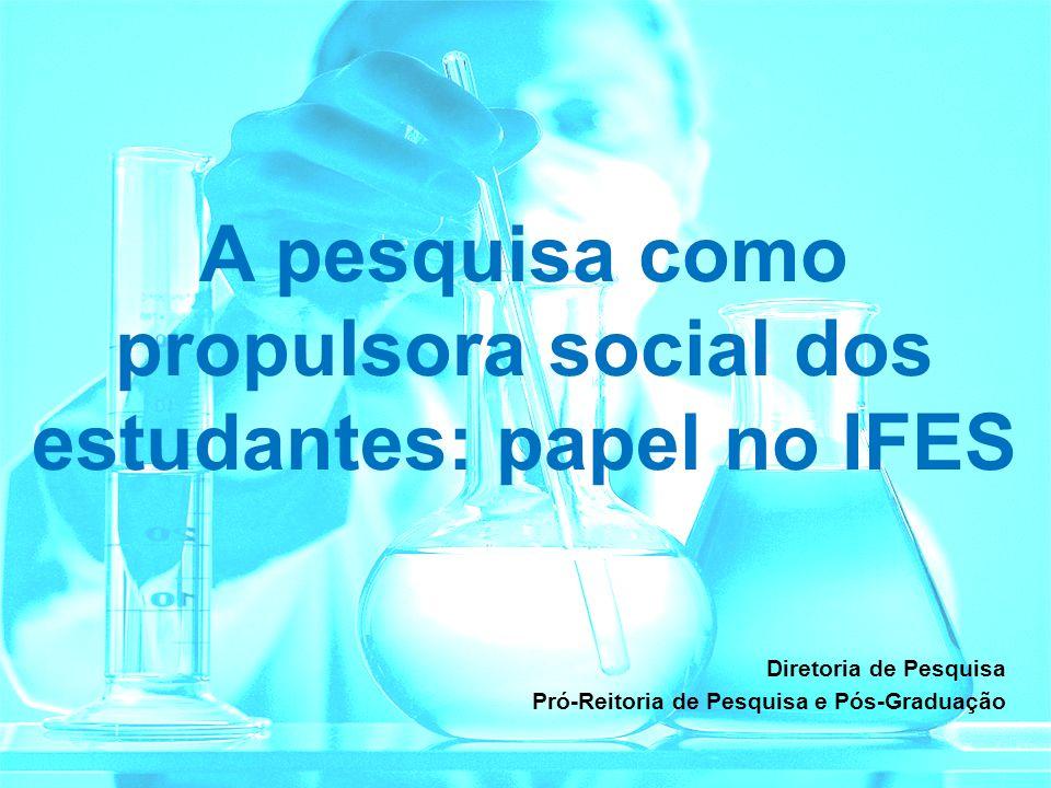 A pesquisa como propulsora social dos estudantes: papel no IFES Diretoria de Pesquisa Pró-Reitoria de Pesquisa e Pós-Graduação