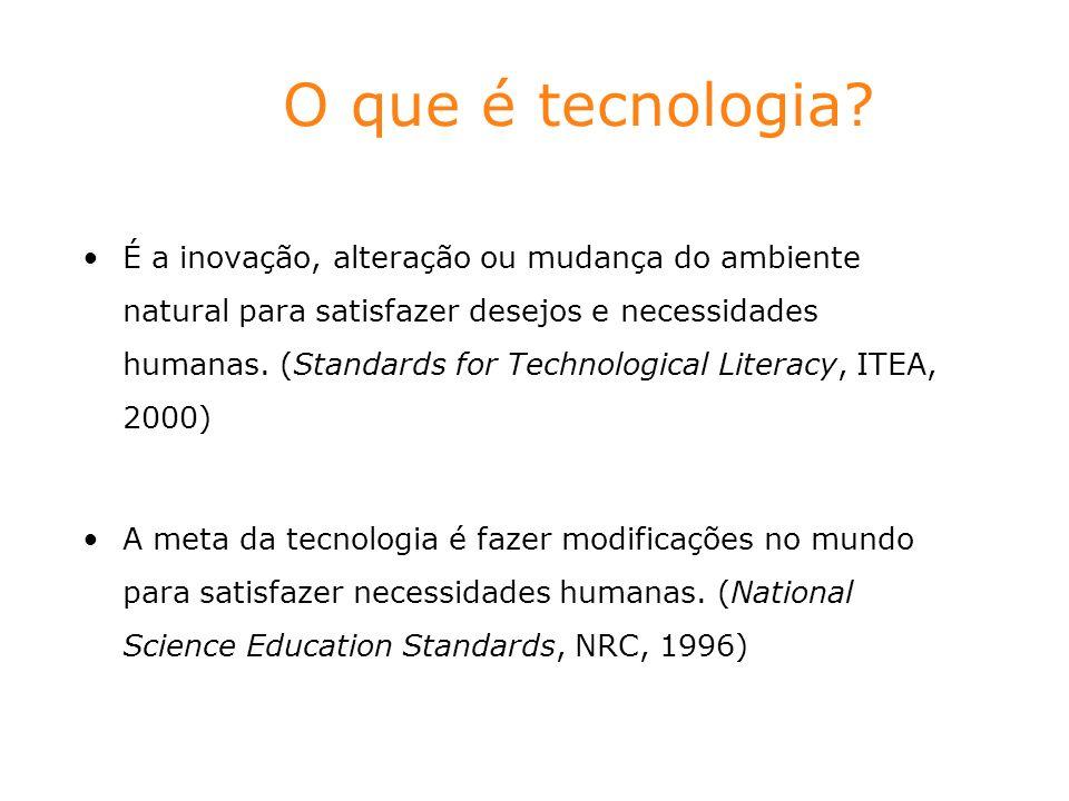 O que é tecnologia? É a inovação, alteração ou mudança do ambiente natural para satisfazer desejos e necessidades humanas. (Standards for Technologica
