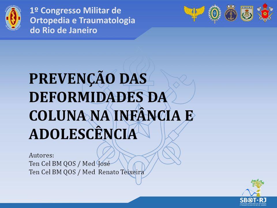 PREVENÇÃO DAS DEFORMIDADES DA COLUNA NA INFÂNCIA E ADOLESCÊNCIA Autores: Ten Cel BM QOS / Med José Ten Cel BM QOS / Med Renato Teixeira