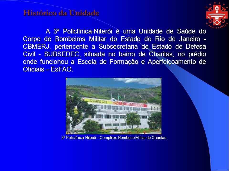 Histórico da Unidade A 3ª Policlínica-Niterói é uma Unidade de Saúde do Corpo de Bombeiros Militar do Estado do Rio de Janeiro - CBMERJ, pertencente a