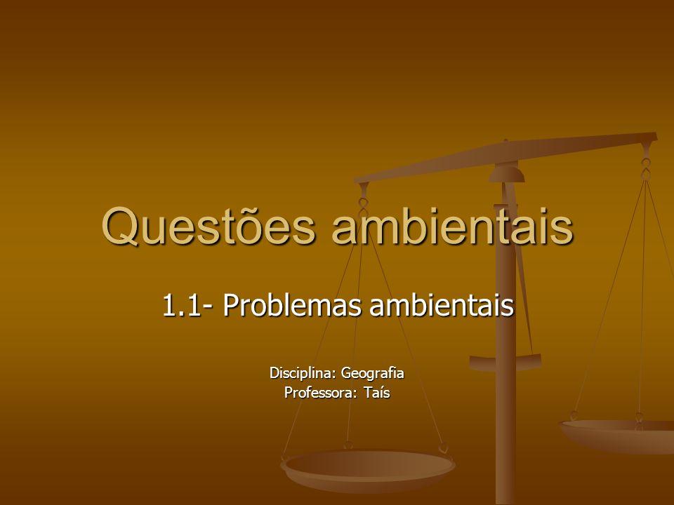 Questões ambientais 1.1- Problemas ambientais Disciplina: Geografia Professora: Taís