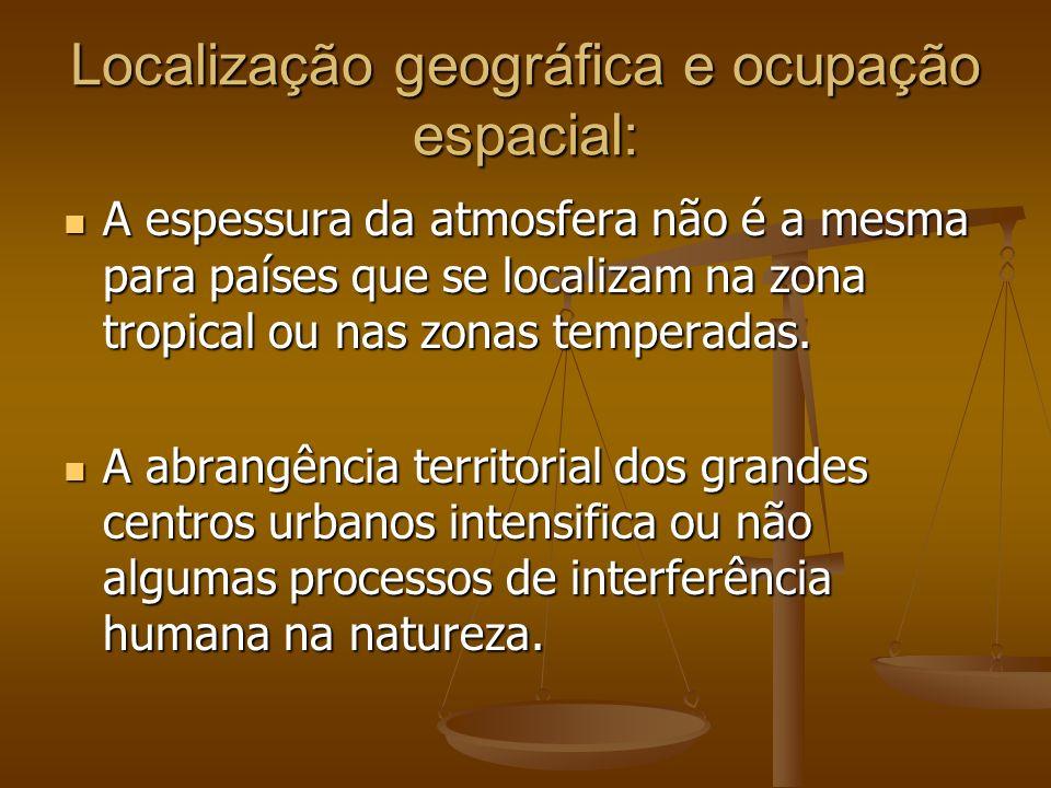 Localização geográfica e ocupação espacial: A espessura da atmosfera não é a mesma para países que se localizam na zona tropical ou nas zonas temperad