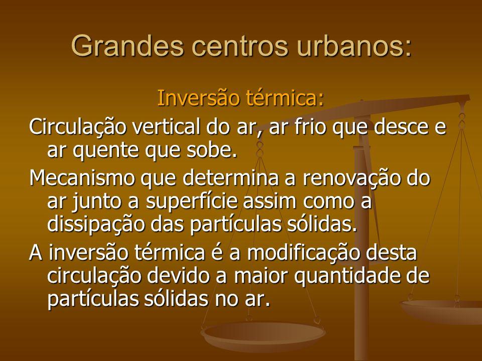 Grandes centros urbanos: Inversão térmica: Circulação vertical do ar, ar frio que desce e ar quente que sobe. Mecanismo que determina a renovação do a