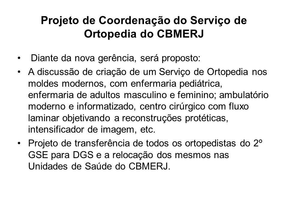 Projeto de Coordenação do Serviço de Ortopedia do CBMERJ Diante da nova gerência, será proposto: A discussão de criação de um Serviço de Ortopedia nos
