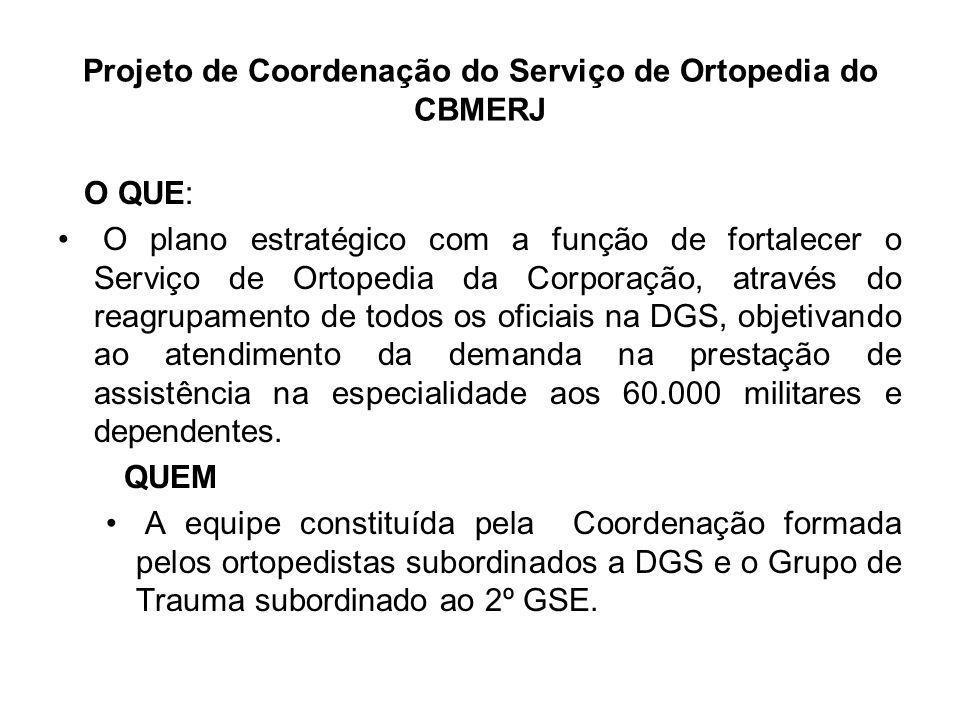 Projeto de Coordenação do Serviço de Ortopedia do CBMERJ QUANDO A Coordenação já se encontra-se em prática desde 2008 subordinada a Divisão de Atenção à Saúde (DAS) da DGS ONDE Reestruturação do Serviço de Ortopedia do CBMERJ com reagrupamento do GRUPO de TRAUMA do 2º GSE cedido à Secretaria de Saúde do Estado do Rio de Janeiro para garantir a melhoria do atendimento prestado aos Bombeiros Militares e dependentes no HCAP e Policlínicas e manter o alto padrão técnico e cirúrgico do Serviço de Ortopedia do HCAP, aumentando a capacidade de realizar cirurgias de todo o aparelho músculo-esquelético