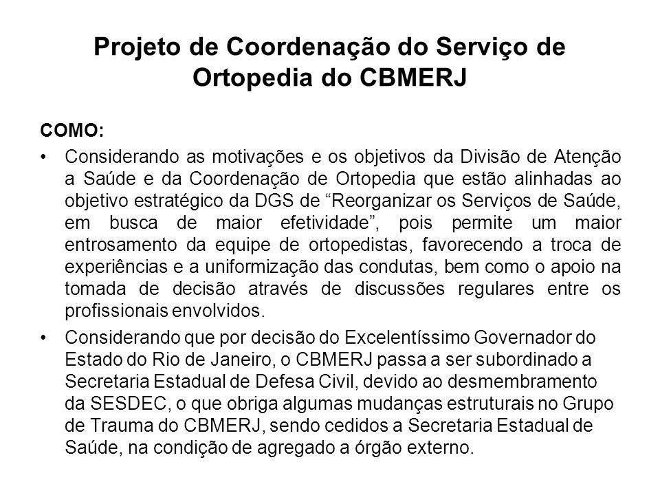 Projeto de Coordenação do Serviço de Ortopedia do CBMERJ COMO: Considerando as motivações e os objetivos da Divisão de Atenção a Saúde e da Coordenaçã