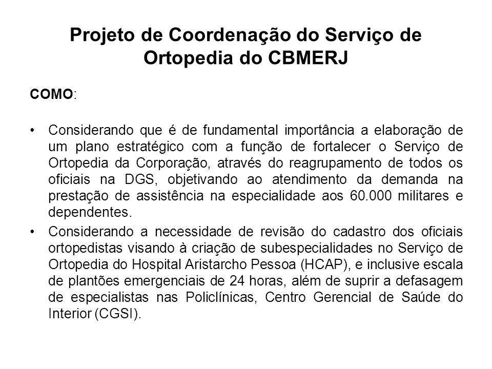 Projeto de Coordenação do Serviço de Ortopedia do CBMERJ COMO: Considerando a necessidade de criar um Grupo de Trauma preparado para tomada de medidas imediatas frente aos desastres e catástrofes que ficaria a disposição do CBMERJ para atendimento aos grandes desastres.