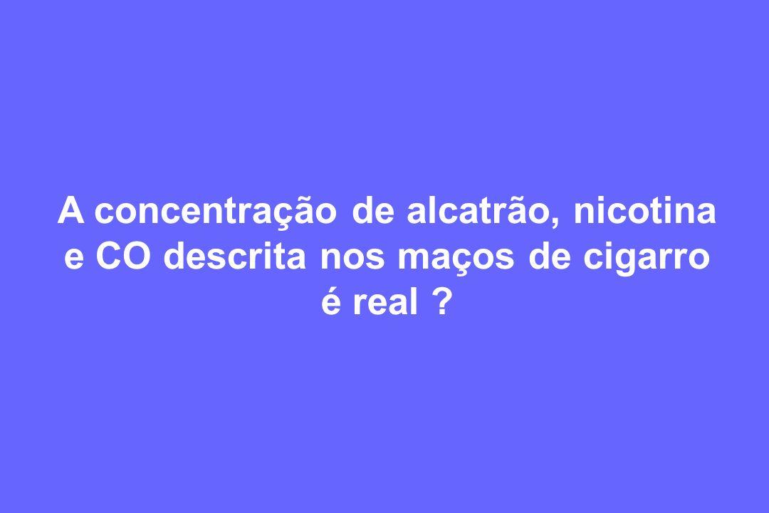 A concentração de alcatrão, nicotina e CO descrita nos maços de cigarro é real ?