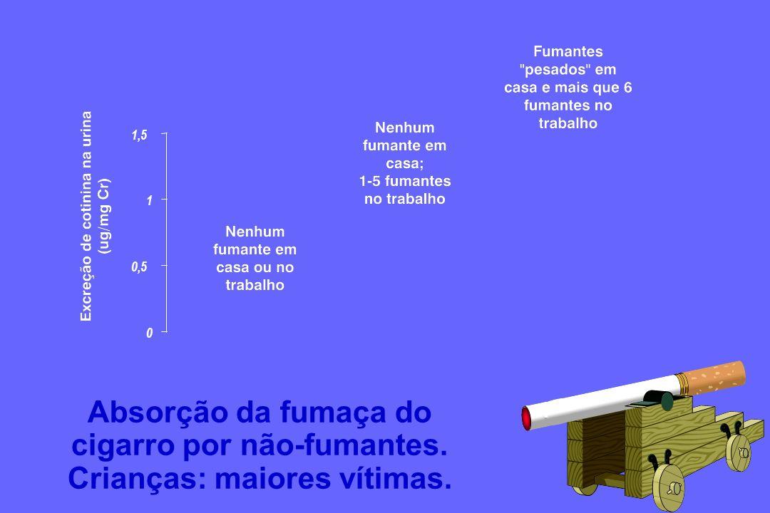 0 0,5 1 1,5 Absorção da fumaça do cigarro por não-fumantes. Crianças: maiores vítimas.
