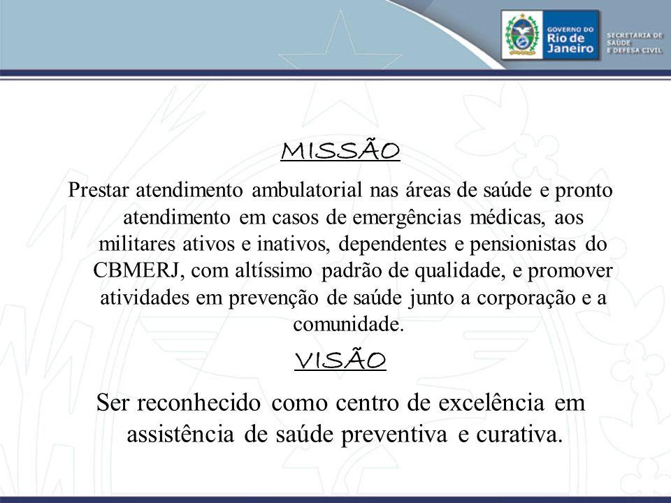 MISSÃO Prestar atendimento ambulatorial nas áreas de saúde e pronto atendimento em casos de emergências médicas, aos militares ativos e inativos, depe