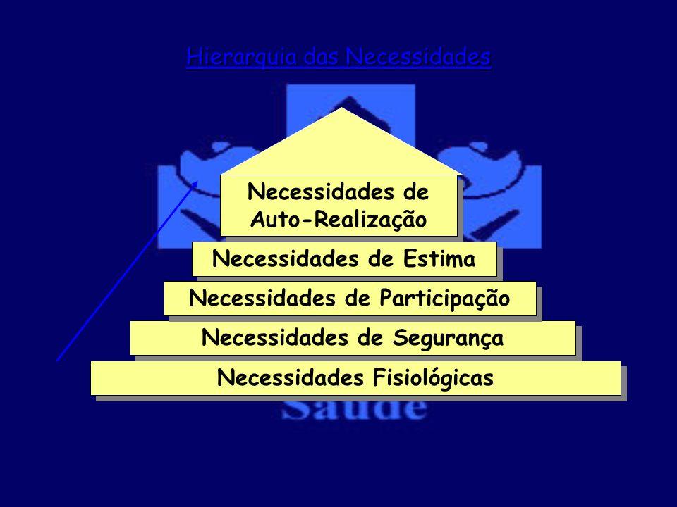 Necessidades Fisiológicas Necessidades de Segurança Necessidades de Auto-Realização Necessidades de Estima Necessidades de Participação Hierarquia das