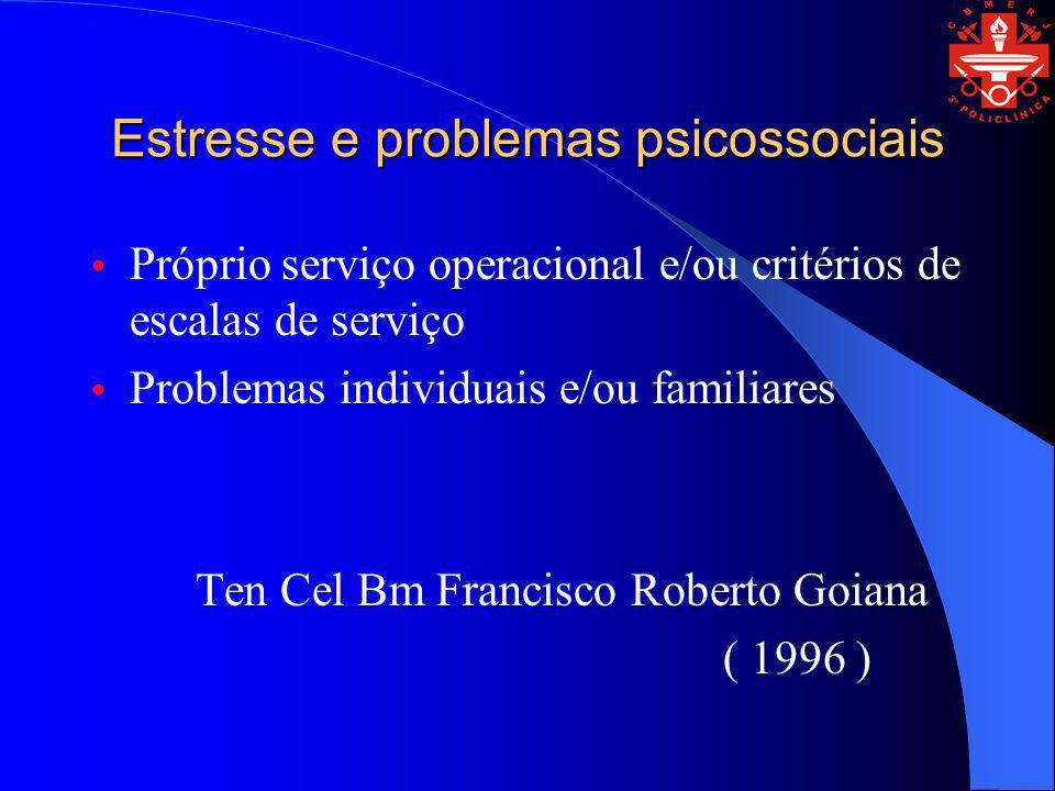 Estresse e problemas psicossociais Próprio serviço operacional e/ou critérios de escalas de serviço Problemas individuais e/ou familiares Ten Cel Bm F
