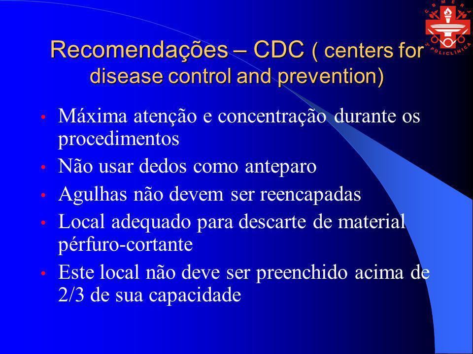 Recomendações – CDC ( centers for disease control and prevention) Máxima atenção e concentração durante os procedimentos Não usar dedos como anteparo