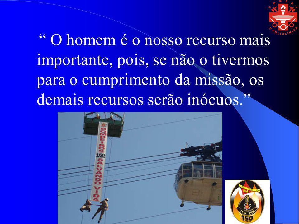 O homem é o nosso recurso mais importante, pois, se não o tivermos para o cumprimento da missão, os demais recursos serão inócuos.